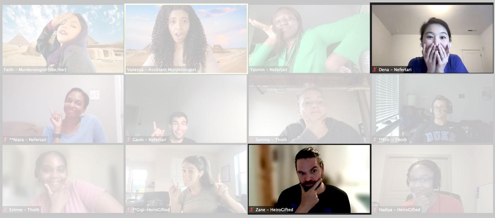 Zane and Dena at virtual escape room